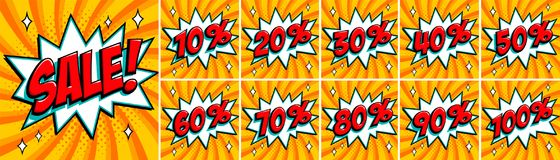 Big orange color sale set. Sale inscription and all percent numbers. orange and red colors. Pop-art comics style web. Banners, flash animation, stickers, tags Royalty Free Stock Photos