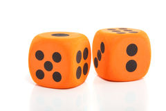 Big orange dice Royalty Free Stock Images