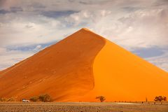 Big orange dune with blue sky and clouds, Sossusvlei, Namib desert, Namibia, Southern Africa. Red sand, biggest dun in the world. royalty free stock images
