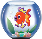 Big orange fish in a bowl. Big orange and violet cartoon fish in a bowl with green seaweeds and colorful stones Royalty Free Stock Photography