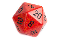 Big Orange Marble d20 Die Stock Images