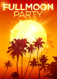 Big orange moon fullmoon party poster background Stock Image