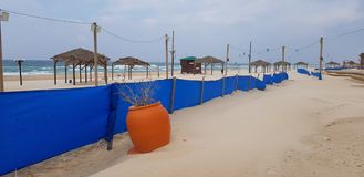Big orange plastic can with dry plant near blue fence on the beach stock image