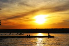 Big orange sky at Paranoa Lake royalty free stock image