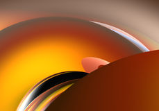 Big orange sphere. A Study of Form&Colors, rendered in Bryce Royalty Free Stock Photography