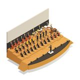 Orchestra Isometric Composition. Big orchestra playing classical music on stage with conductor 3d isometric composition vector illustration Royalty Free Stock Photos