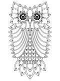 Big ornamental owl outline Royalty Free Stock Photography