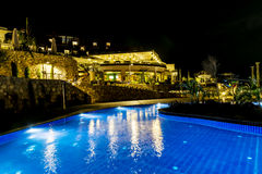 Big Outdoor hotel pool by night Stock Images