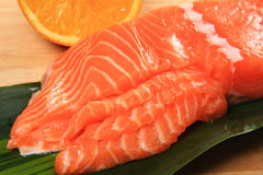 Big pacific-salmon. Fresh salmon meat features,Big pacific-salmon Stock Image