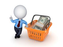 Big pack of dollars. In a colourful plastic basket Stock Images