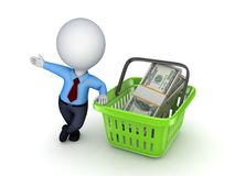 Big pack of dollars. In a colourful plastic basket Stock Photo