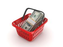 Big pack of dollars. In a colourful plastic basket Royalty Free Stock Photo