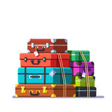 Big packed tightened baggage bags Royalty Free Stock Photos