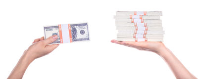 Big packs of dollars in hand isolated Stock Image