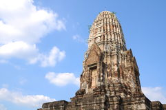 Pagoda with blue sky in Ayutthaya province, center Royalty Free Stock Image