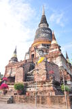 Big Pagoda in temple of Wat Yai Chaimongkol. Ayutthaya was the old capital of Thailand Royalty Free Stock Photo