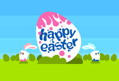Big Painted Egg Happy Easter Holiday Rabbits Bunny Couple Spring Natural Background Blue Sky Green Grass Stock Photo