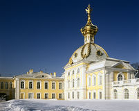 Big Palace in Peterhof, St. Petersburg. Big Palace in Peterhof, winter view, cold dome with double head eagle,  St. Petersburg, Russia Royalty Free Stock Photos