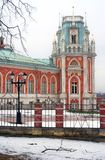 The Big Palace in Tsaritsyno park in Moscow. Vintage street light. Royalty Free Stock Photos