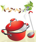 Big pan with mushroom soup and scoop. Illustration Royalty Free Stock Photo