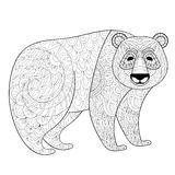 Big Panda in zentangle, tribal style. Freehand ethnic sketch. For adult coloring book with doodle elements. Ornamental artistic vector illustration for tattoo Stock Photo