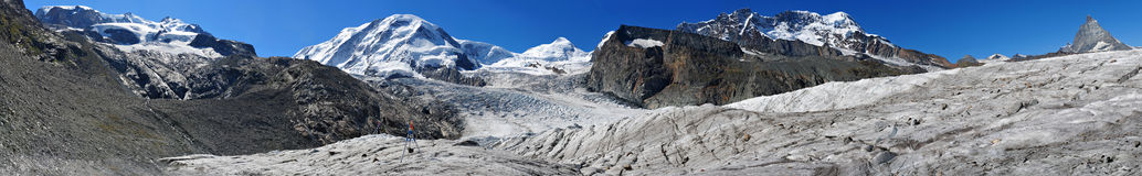 Big Panorama of 4000-meter-peaks royalty free stock photo