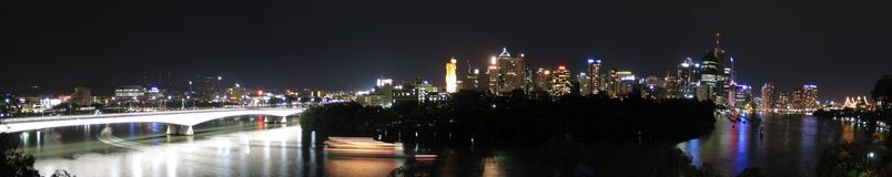 Big Panorama of Brisbane. A 9 megapixel panorama of Brisbane city at night. www.cjsphotomagic.com Royalty Free Stock Photos