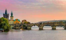 Big Panorama of Charles bridge in Prague, Czech republic, Europe Royalty Free Stock Photography