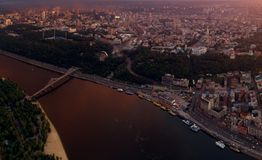 A big panorama of the city of Kiev on Podol at sunset. Royalty Free Stock Photos