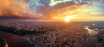 A big panorama of the city of Kiev on Podol at sunset. Stock Image