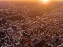 A big panorama of the city of Kiev on Podol at sunset. Royalty Free Stock Image