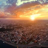 A big panorama of the city of Kiev on Podol at sunset. Royalty Free Stock Photography