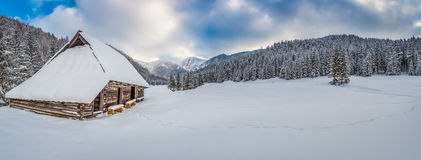 Big panorama of dawn over the mountain valley in winter Stock Photography