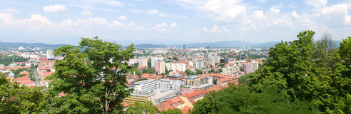 Big panorama of Ljubljana city center, the capital of Slovenia, Royalty Free Stock Image