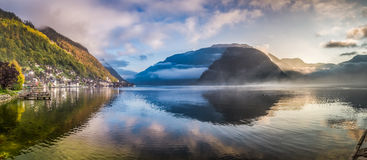 Big panorama of misty lake at dawn in Hallstatt, Austria Stock Photo