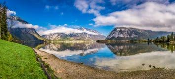 Big panorama of mountain lake between mountains Stock Images
