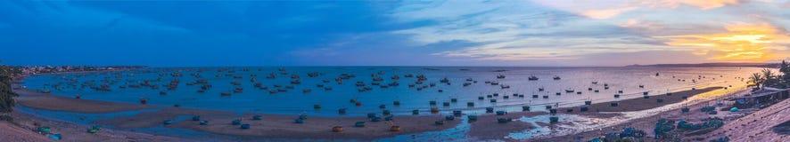 Big panorama, Vietnamese fishermen in Vietnam stock image