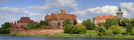 Big panoramic view an old medieval castle in Malbork - Poland royalty free stock image