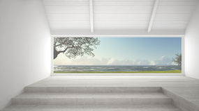 Big panoramic window with grass garden, olives trees and rough s. Eas, empty room interior design Royalty Free Stock Photo