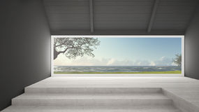 Big panoramic window with grass garden, olives trees and rough s. Eas, empty room interior design Stock Image
