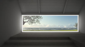 Big panoramic window with grass garden, olives trees and rough s. Eas, empty room interior design Royalty Free Stock Image