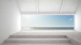 Big panoramic window with sea ocean background, summer scene, em Stock Photography