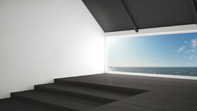 Big panoramic window with sea ocean background, summer scene, em Stock Images