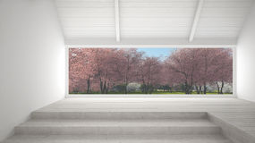 Big panoramic window with spring garden with pink flowers trees, Stock Images