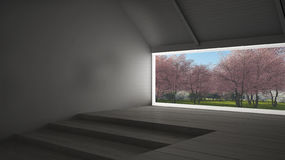 Big panoramic window with spring garden with pink flowers trees,. Empty room interior design Royalty Free Stock Photos