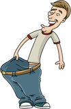 Big Pants. A cartoon man who has lost weight celebrates by showing how big his pants have become Royalty Free Stock Photography
