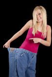Big pants hold back smile Stock Photo