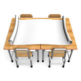 Big Paper On School Desks Front View Royalty Free Stock Photo