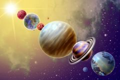 Big parade of the planets from 6 planets of the solar system. On background star and sun stock illustration