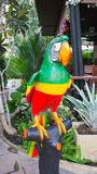 Big Parrot toy in the garden., Parrot on the perch in the garden Stock Images